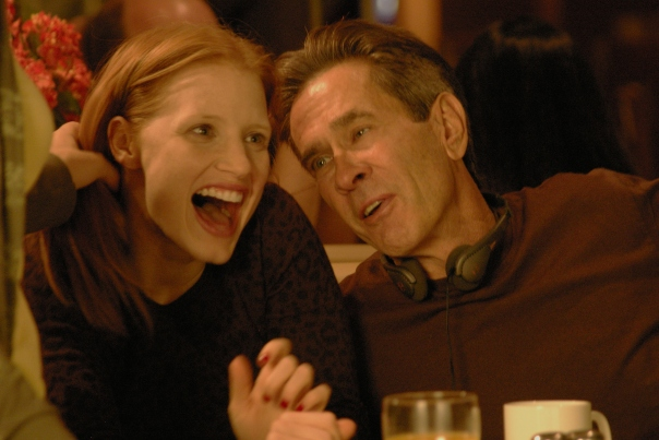 Director Dan Ireland with Jessica Chastain on the set of his film, JOLENE.